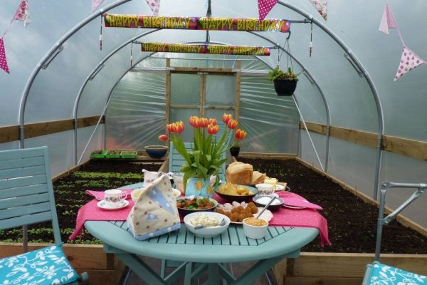 polytunnel decorated with party decorations