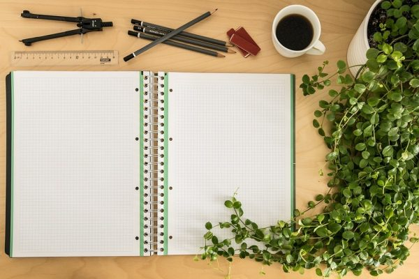 open notebook for garden planning