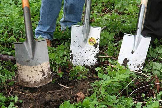 three shovels being used by gardeners