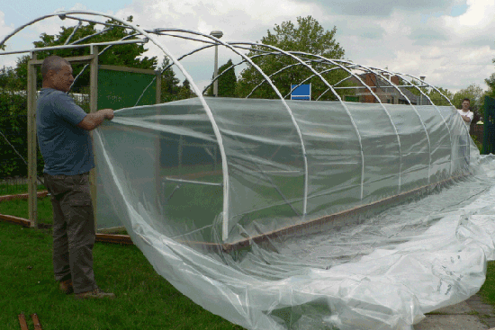 polythene cover being put on a polytunnel