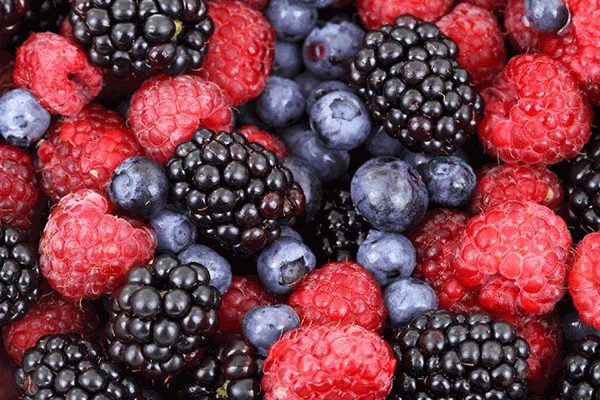raspberries, blackberries and blueberries