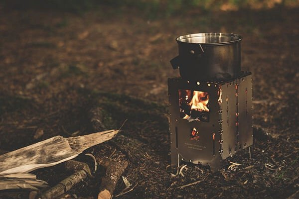 lit camping stove