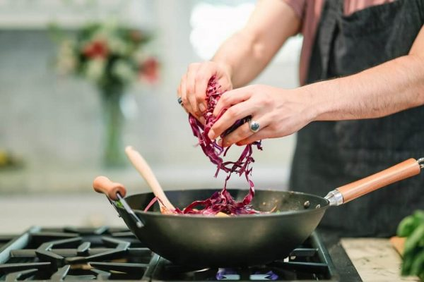 vegan cooking with red cabbage